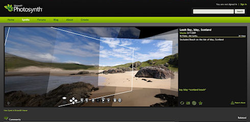 Screenshot of a beach panorama on the Photosynth website