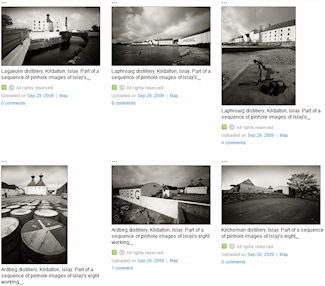 Screenshot of 6 black and white pictures in an online gallery