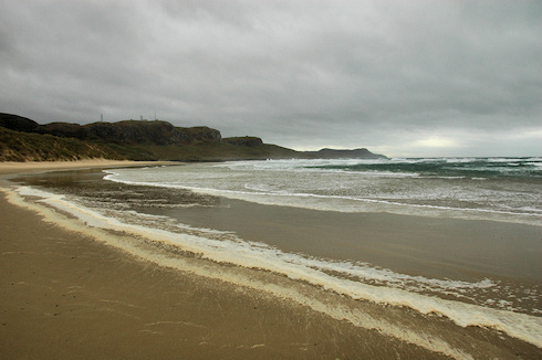 Picture of a wide bay with a sandy beach on a stormy day, foam blowing up on the beach