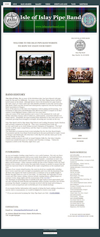 Screenshot of the Islay Pipe Band website