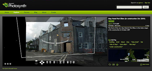 Screenshot of the startup screen of a photosynth of the Islay Hotel in Port Ellen