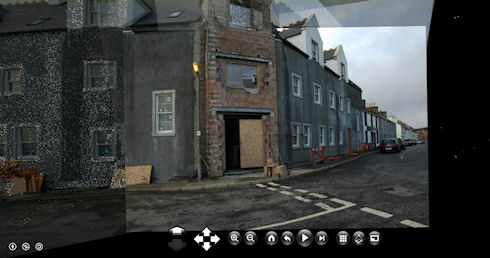 Screenshot of a photosynth of the under construction Islay Hotel in Port Ellen, turned around a corner