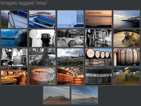 Screenshot of pictures tagged with Islay from a photoblog