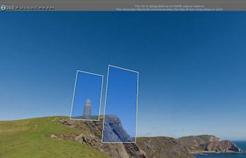 Screenshot from a Quicktime VR panorama of cliffs with a tower
