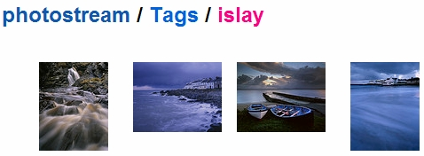 Screenshot of four pictures tagged Islay on a Flickr account