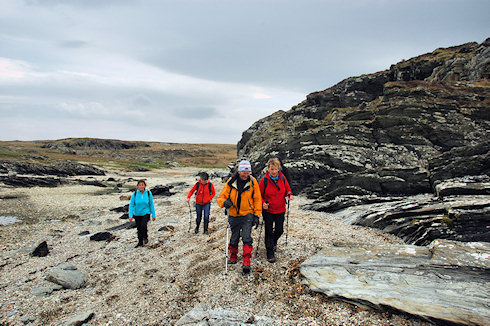 Picture of four walkers on their way along a rocky coast with pebbles in places