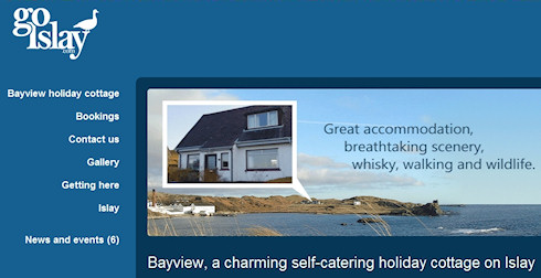 Screenshot of part of the Go Islay website