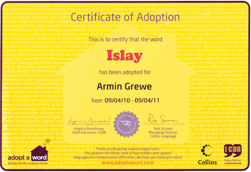 Scan of a certificate that the word 'Islay' has been adopted for Armin Grewe