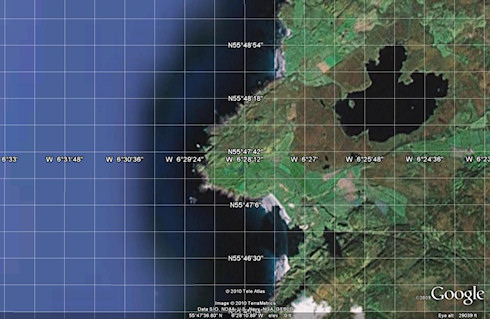 Google Earth screenshot of the west of Islay