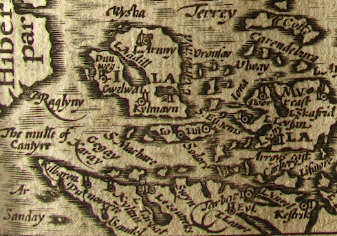 Picture of a very old map of the Southern Hebrides in Scotland