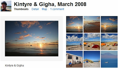 Screenshot of a Flickr picture set of Gigha pictures
