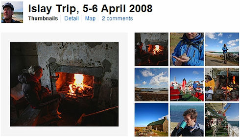 Screenshot of a Flickr picture set of Islay pictures