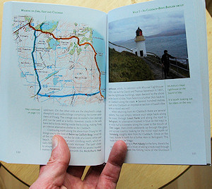 Picture of a walk description with a map and a picture