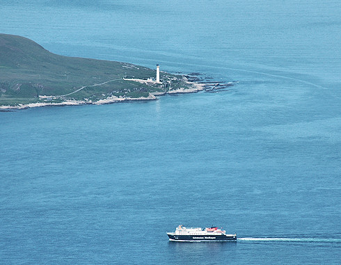 Picture of a Calmac ferry passing a lighthouse, seen from high above
