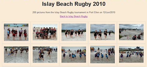 Screenshot of a picture gallery of beach rugby pictures
