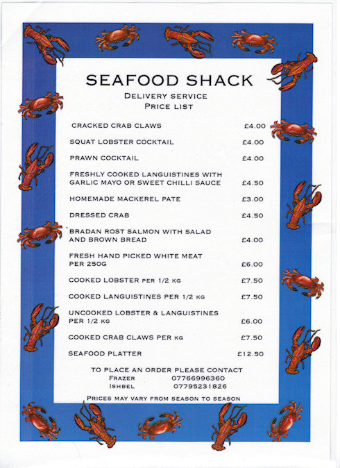 Picture of a seafood menu