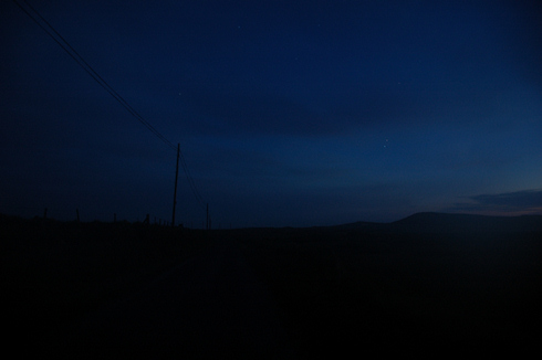 Picture of a night sky on Islay looking along a road