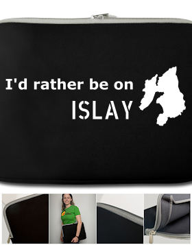 Picture of a laptop sleeve with a 'I'd rather be on Islay' print