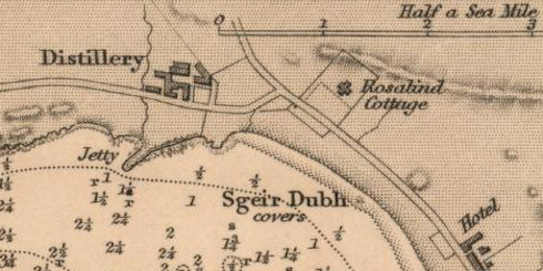Screenshot snippet of a map from 1852, showing a distillery