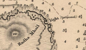 Screenshot of an old map indicating a proposed lighthouse
