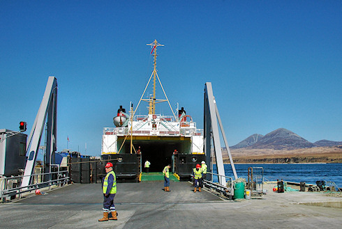 Picture of a Calmac ferry at the linkspan in Port Askaig, Islay