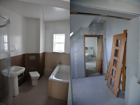 Composite picture of two pictures, a bathroom and a corridor with doors waiting to be installed