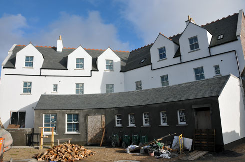 Picture of the back of the Islay Hotel in Port Ellen