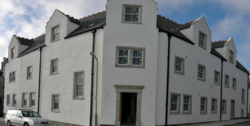 Panoramic picture of the Islay Hotel front in Port Ellen