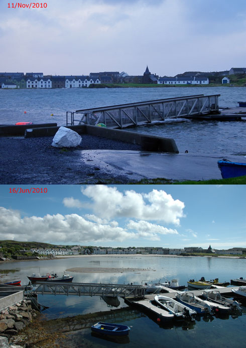 Composite of two pictures, showing a pontoon at low tide and at a very high tide
