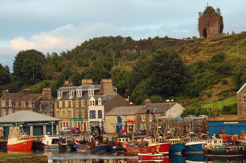 Picture of a harbour front with a row of houses, fishing boats and the ruin of a castle