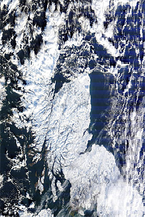 Satellite picture of a snow covered Scotland