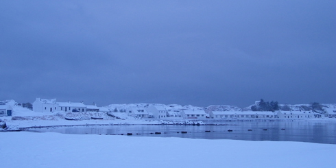 Picture of Frederick Crescent in Port Ellen, Islay, in the snow