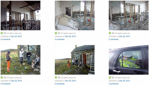 Screenshot of a gallery with 6 pictures from a building renovation project