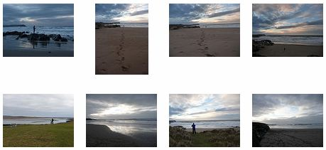 Screenshot of 8 thumbnails of Islay beach pictures