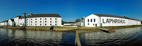 Panoramic picture of Laphroaig distillery on the Isle of Islay