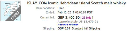 Screenshot of the unsuccessful Islay.com auction on eBay