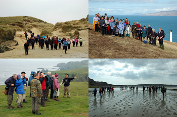 Composite of four pictures, showing walkers on Islay in various environments.