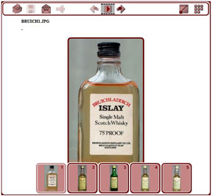 Screenshot of a gallery of single malt whisky