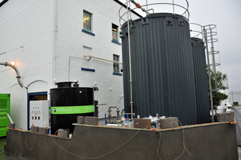 Picture of an anearobic waste digestion system being installed