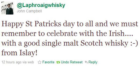 Screenshot of a tweet suggesting to drink Laphroaig Scotch whisky on St Patrick's Day