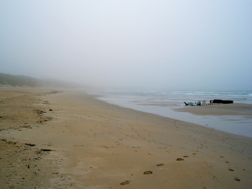 Picture of a beach with a wreck, fog in the mid distance hiding the rest of the beach