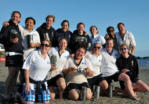 Picture of a female beach rugby team