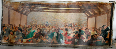 Photo of a large mural painting by Sean O'Leary showing a wedding or a ball