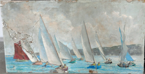 Photo of a damaged painting of sailing boats