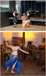 Screenshot of pictures of a belly dancer in two locations