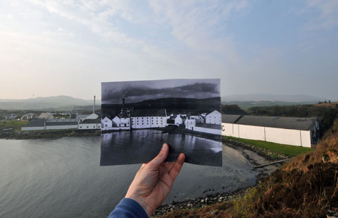 Picture of a picture within a picture, old within new, of Laphroaig distillery