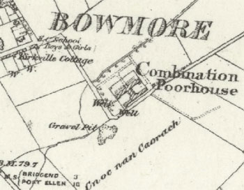 Screenshot of an old OS map showing the poorhouse in Bowmore, Islay