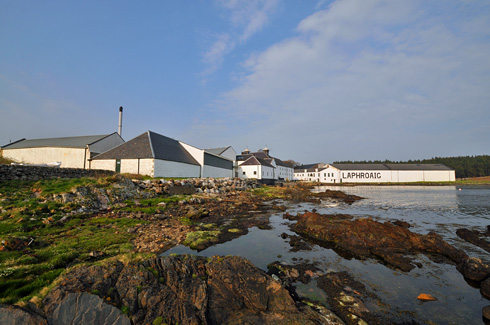 Picture of Laphroaig distillery on Islay seen from the shore