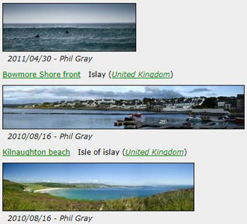 Screenshot from a gallery with three Islay panoramas