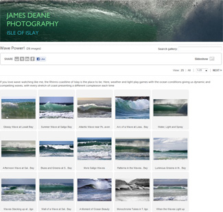 Screenshot of a theme page on the James Deane Photography website, this one showing waves